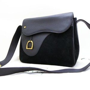Gucci Navy Suede Horsebit Saddle Messenger 233783